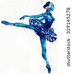 dancing ballerina in blue ...   Shutterstock . vector #329145278