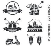 set of classic scooter emblems  ...
