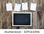 empty blank chalkboard in... | Shutterstock . vector #329161046