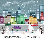winter christmas urban... | Shutterstock .eps vector #329174018