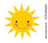 cute smiling sun isolated on... | Shutterstock .eps vector #329184683