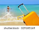 holiday time. suitcase with... | Shutterstock . vector #329185169