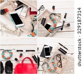 contents of women's bag collage | Shutterstock . vector #329187314