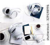 earphones collage | Shutterstock . vector #329198996