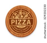 Vector Pizza Label On Wooden...