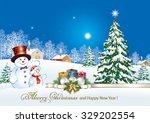 christmas card with a snowman ...