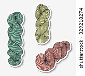 set of yarn hanks.  | Shutterstock .eps vector #329218274