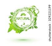 green splash logo with leaves... | Shutterstock .eps vector #329221199