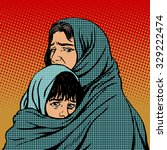 refugee mother and child... | Shutterstock .eps vector #329222474