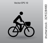 flat cyclist icon | Shutterstock .eps vector #329228480