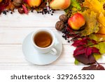 cup of tea  apples  pears  nuts ... | Shutterstock . vector #329265320