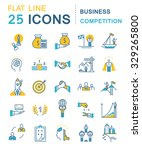 set vector line icons in flat... | Shutterstock .eps vector #329265800