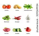salad mix  corn and garlic.... | Shutterstock . vector #329269934