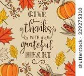 hand drawn autumn thanksgiving... | Shutterstock . vector #329275310