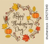 hand drawn autumn thanksgiving... | Shutterstock . vector #329275340