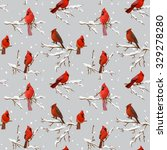 winter birds retro background   ... | Shutterstock .eps vector #329278280