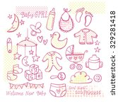 collection of baby girl doodle... | Shutterstock .eps vector #329281418