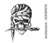 hand drawn pirate skull in... | Shutterstock .eps vector #329284070