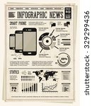 retro vintage newspaper with... | Shutterstock .eps vector #329299436