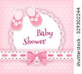baby shower card. vector... | Shutterstock .eps vector #329302244