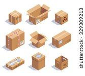 collection of cardboard boxes.... | Shutterstock .eps vector #329309213