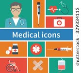 medical equipment icons set ... | Shutterstock .eps vector #329334113