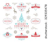merry christmas and happy new... | Shutterstock .eps vector #329335478