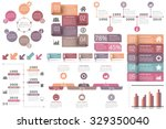 Set of infographic elements - circle diagram, timelines, arrows, diagram with percents, bar graph, objects with numbers (steps or options) and text, vector eps10 illustration | Shutterstock vector #329350040