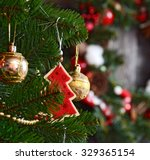 vintage christmas decoration... | Shutterstock . vector #329365154