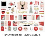 christmas set with cards  notes ... | Shutterstock .eps vector #329366876