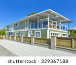 new residential house and fence ... | Shutterstock . vector #329367188