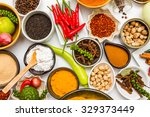 group of indian spices and... | Shutterstock . vector #329373449