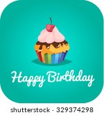 happy birthday card with a... | Shutterstock .eps vector #329374298