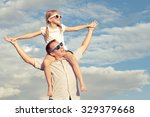 father and daughter playing in... | Shutterstock . vector #329379668
