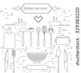 kitchen outline icons set.... | Shutterstock .eps vector #329383220