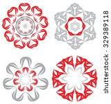 duocolor abstract flower set... | Shutterstock .eps vector #329389118