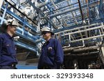 oil and gas workers inside... | Shutterstock . vector #329393348