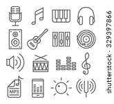music icons in trendy linear...   Shutterstock . vector #329397866