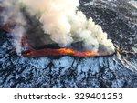 icelandic volcano eruption | Shutterstock . vector #329401253
