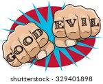 vintage pop art good evil... | Shutterstock .eps vector #329401898