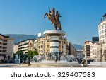 alexander the great monument in ... | Shutterstock . vector #329407583