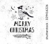 the lettering   merry christmas.... | Shutterstock .eps vector #329416226