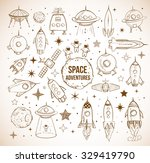 collection of sketchy space... | Shutterstock .eps vector #329419790