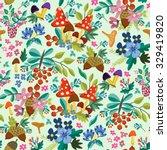 autumn floral pattern in vector ... | Shutterstock .eps vector #329419820