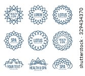lotus linear vector label and...   Shutterstock .eps vector #329434370