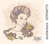 zodiac. illustration of cancer... | Shutterstock . vector #329436773