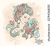 zodiac. illustration of pisces... | Shutterstock . vector #329436830