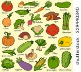 color set with vegetables ... | Shutterstock .eps vector #329440340
