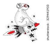Stock vector koala flying on the rocket to the moon kid illustration art print 329441933