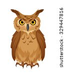Stock vector vector brown owl isolated on a white background 329447816